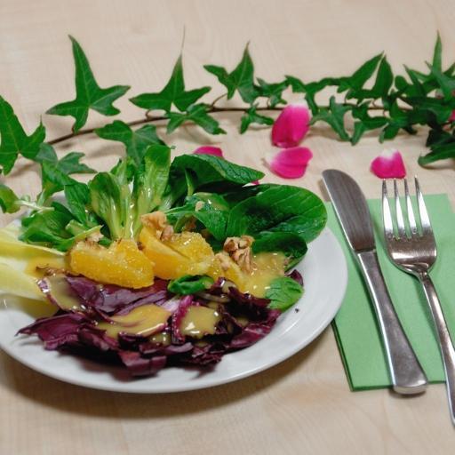 Salad with radicchio, chicory and orange segments