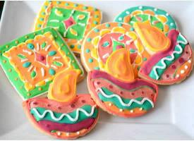 Sugar cookies - Diwali diya and rangoli