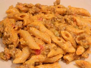 Beefy Salsa Macaroni And Velveeta Cheese