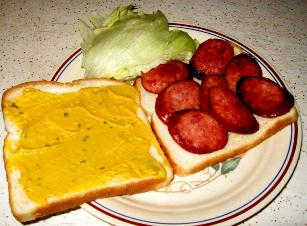 Fried Kielbasa Sandwich