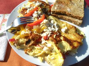 Feta Pepper Omelets For 2