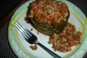 Crock Pot  Spanish Stuffed Green Bell Peppers