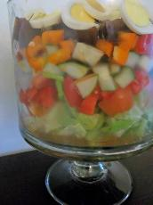 Layered Gazpacho Salad( Low Calorie)
