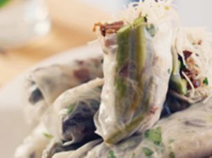 Mushroom, Pork And Asparagus Fresh Rolls
