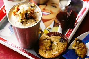 Thick shakes with chunky choc cookies