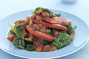 Bean and spinach salad with ham steaks