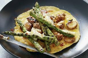 Asparagus, pork and potato omelets