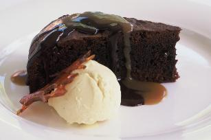 Valli Littles chocolate brownie cake with ice-cream and 2 sauces