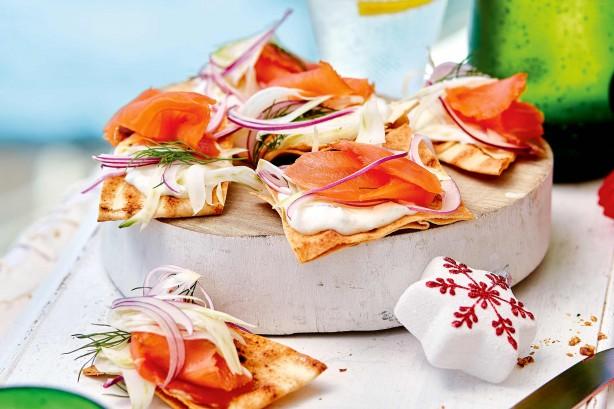 Smoked salmon and tzatziki crisp breads
