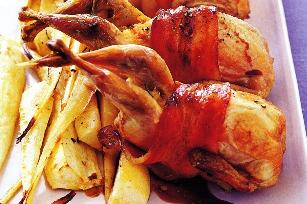 Bacon-wrapped quail with marsala