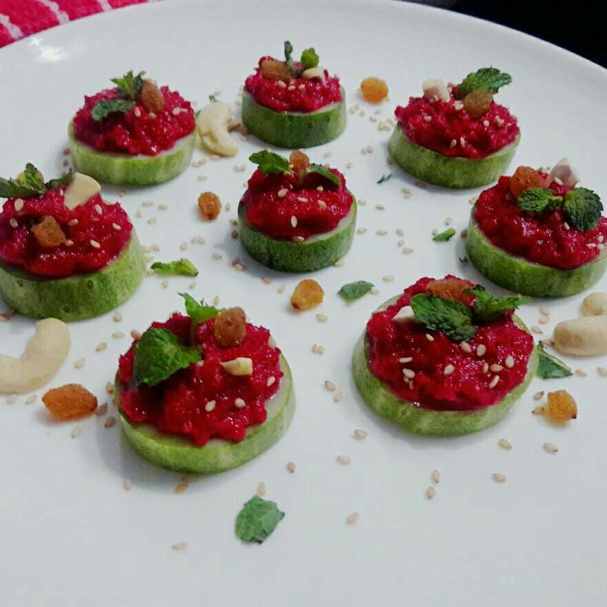 Beetroot Hummus Cucumber Canape