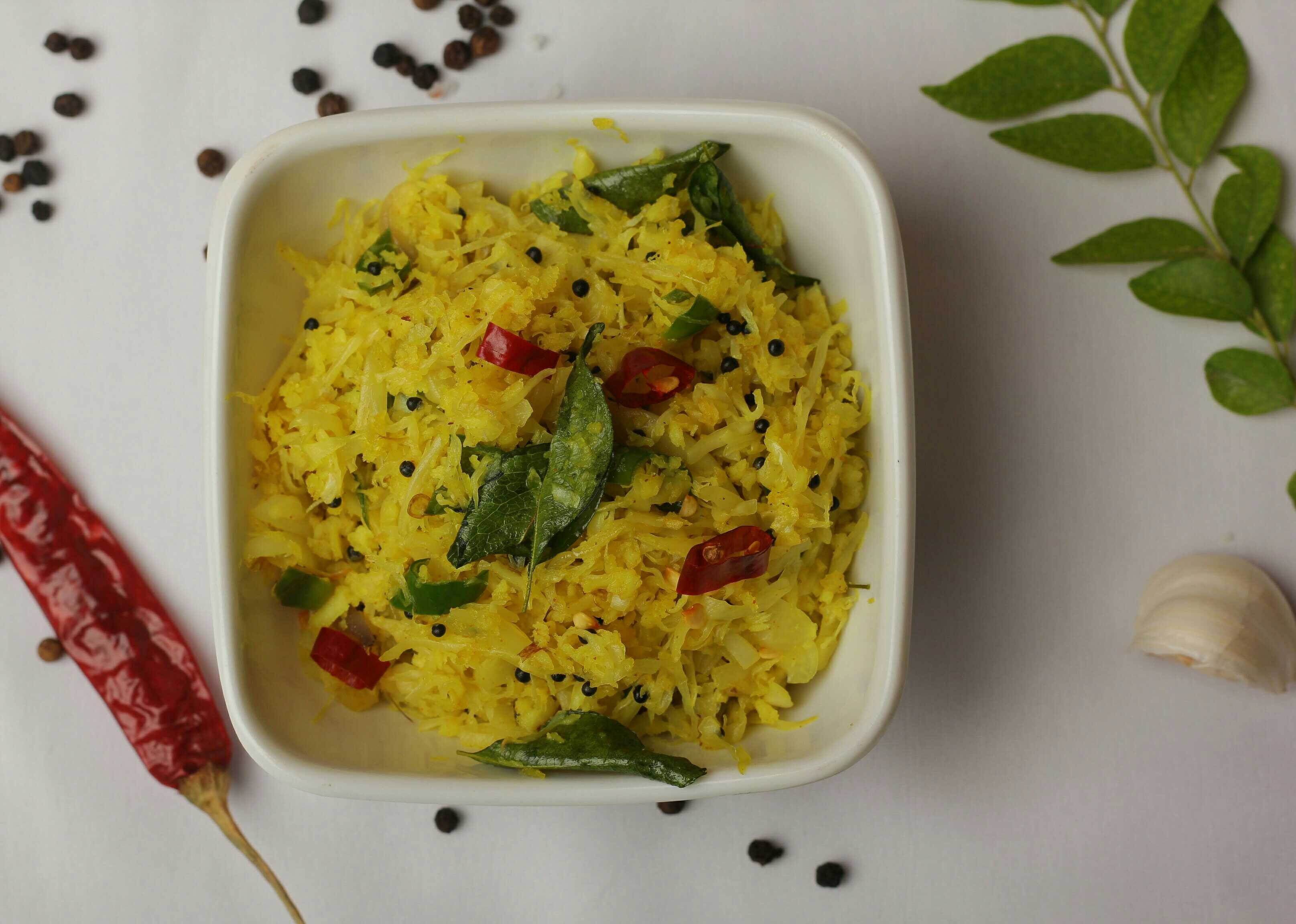 Cabbage Thoran (Stir fry with coconut)