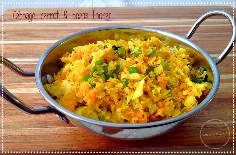 Cabbage,Beans & Carrot Thoran