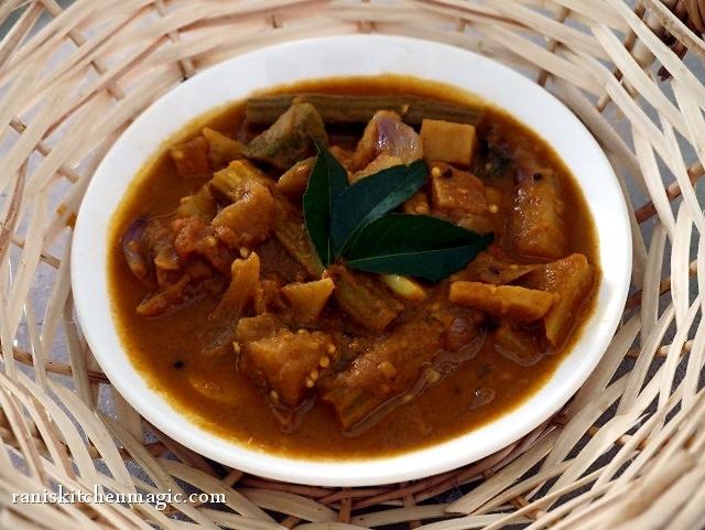 Mixed Vegetable Theeyal( Koottu Theeyal)