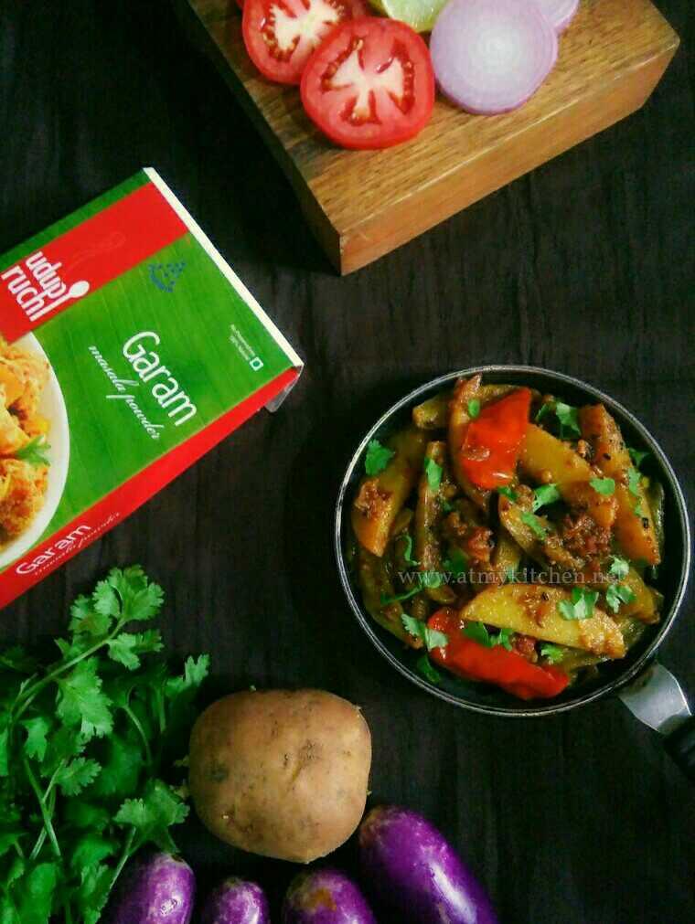 Potato Brinjal Fry / Aloo Aur Baingan Sabzi