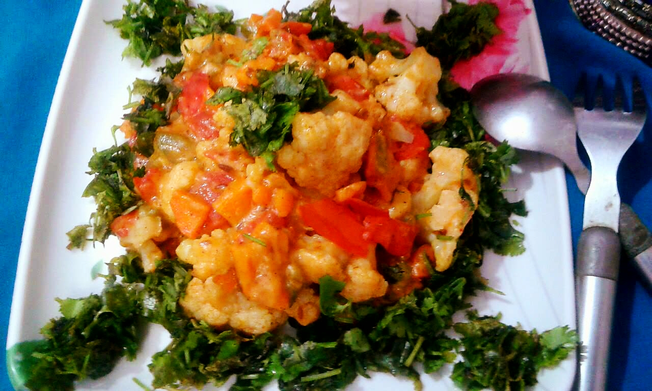 Yummy creamy cauliflower and mix vegetable