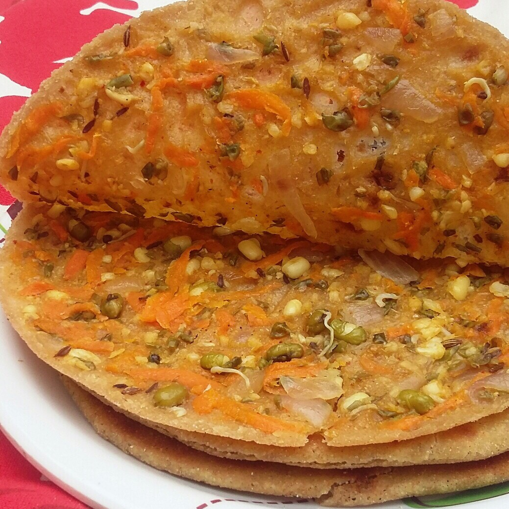 stuffed carrot and moong sprouts paratha
