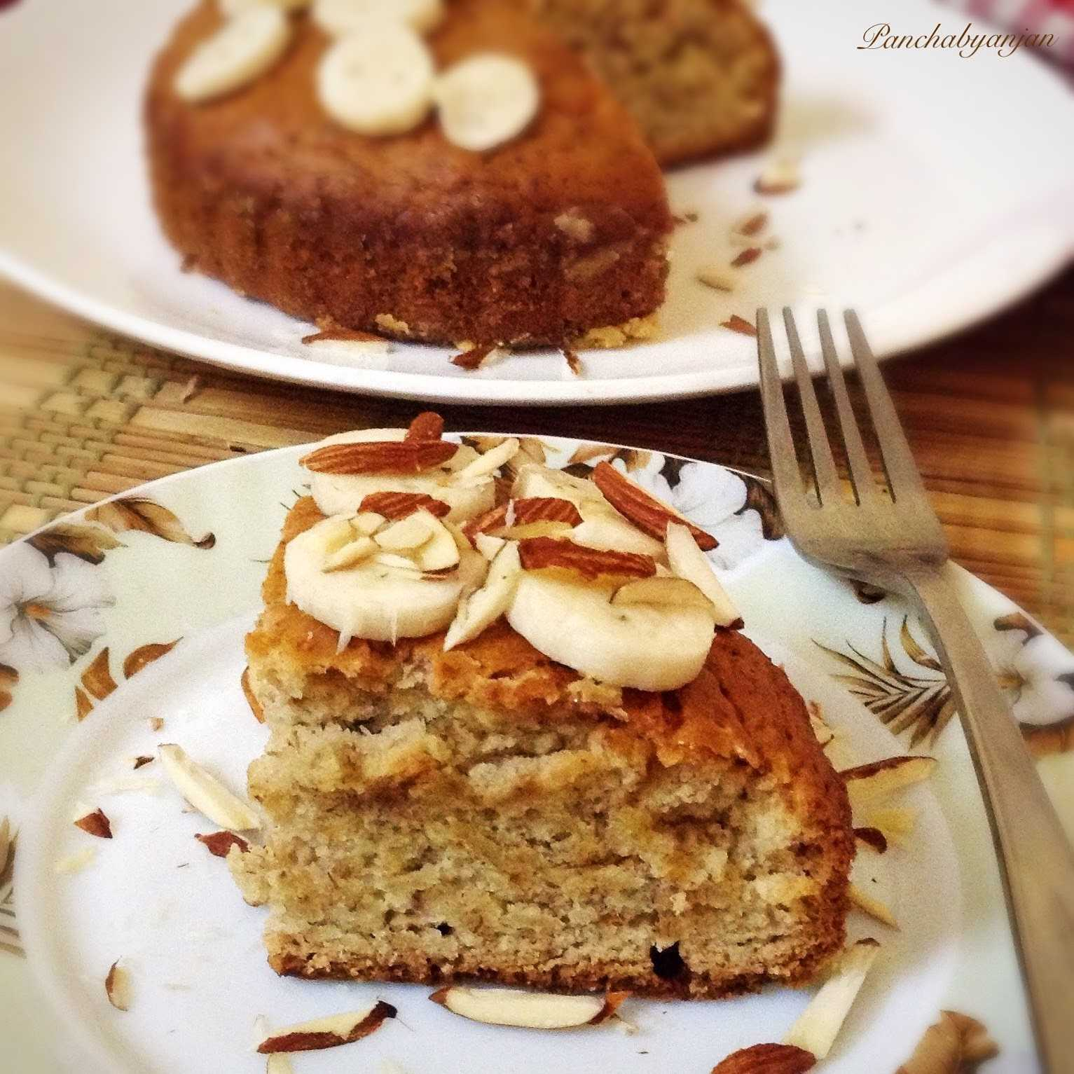 Eggless Banana Almond Cake In Cooker