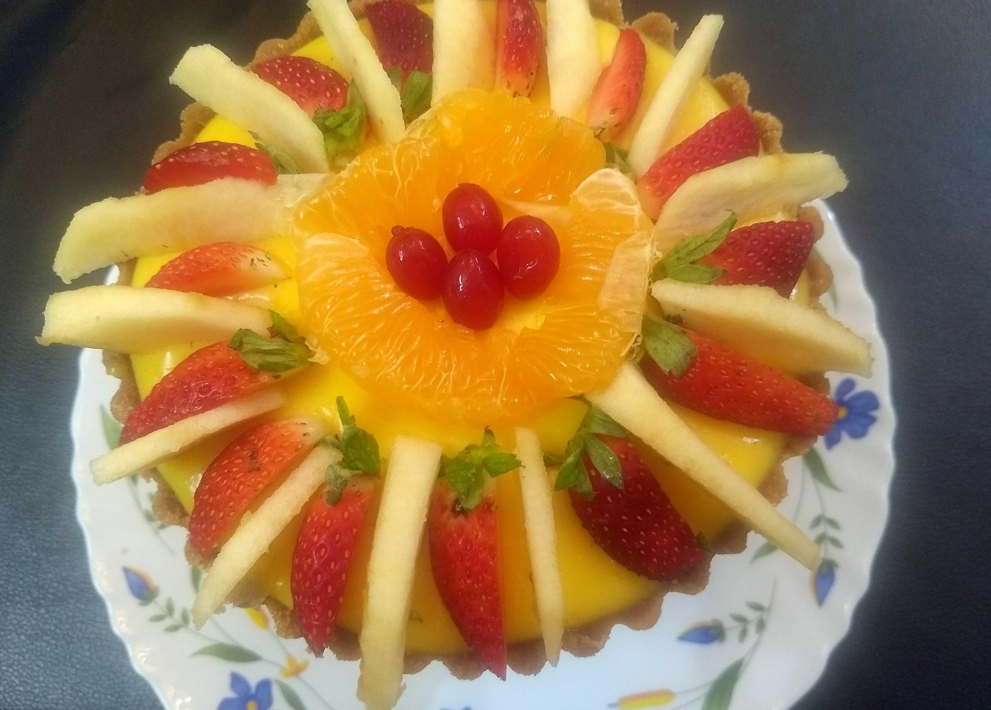 No Bake Eggless Fruit Custard Tart