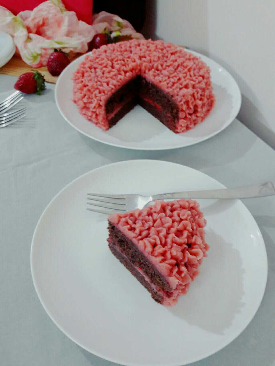 Chocolate Cake With Strawberry Buttercream Frosting