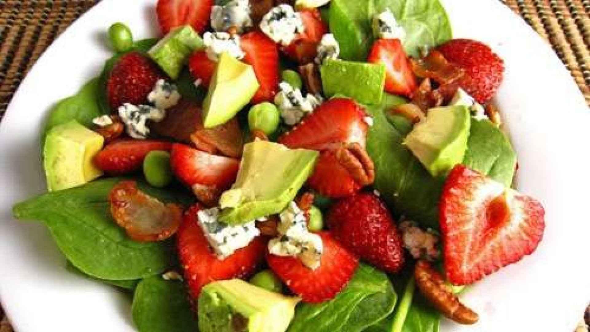 Strawberry, spinach and avocado salad with honey vinaigrette