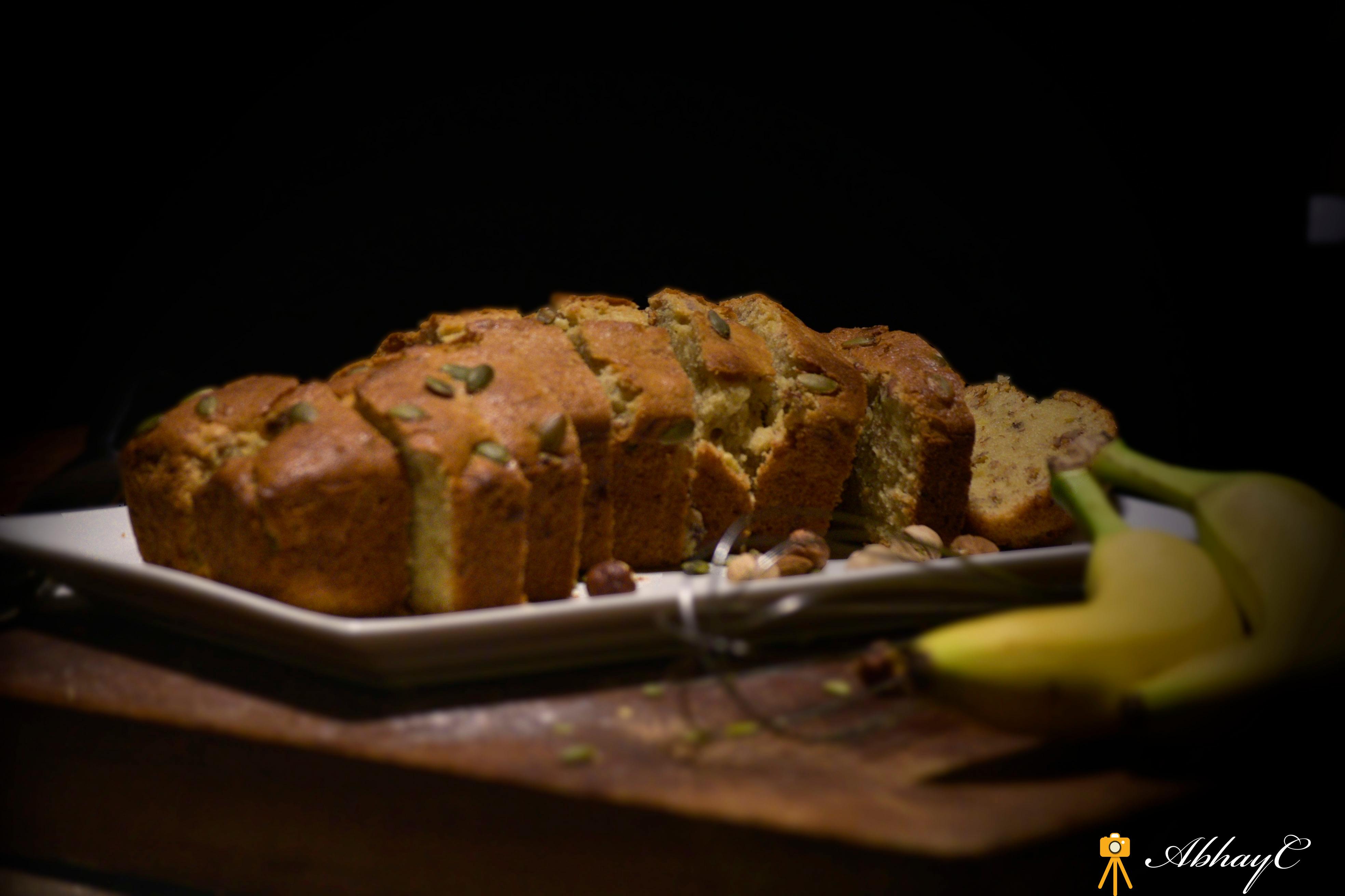 Aromatic Banana & Hazelnut loaf Bread, with Pumpkin seeds!