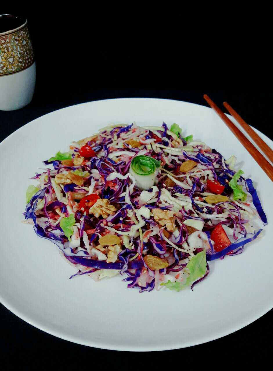 Purple Cabbage Salad With Lemon Ginger Dressing
