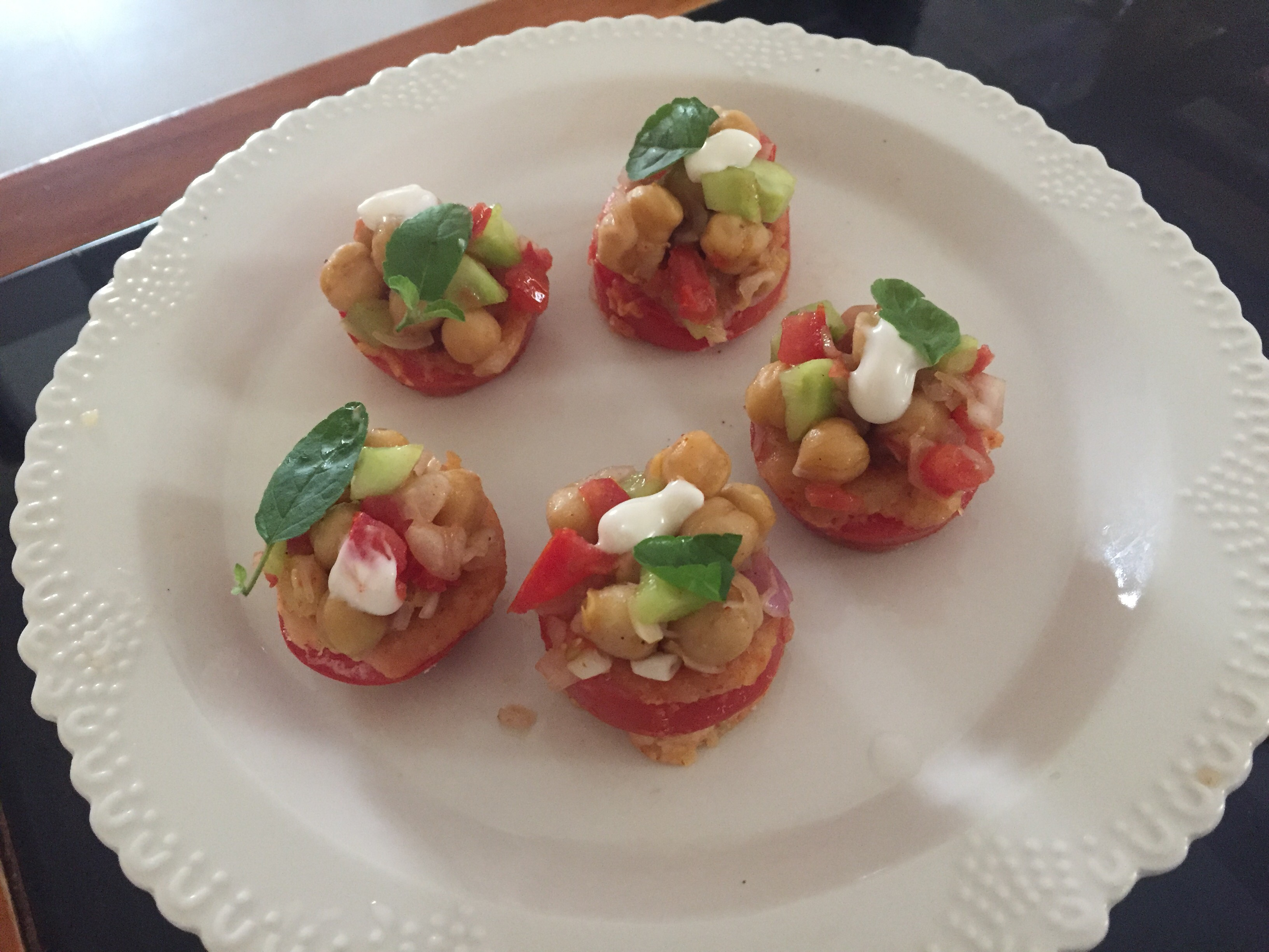 Chole chaat in ringed tomatoes