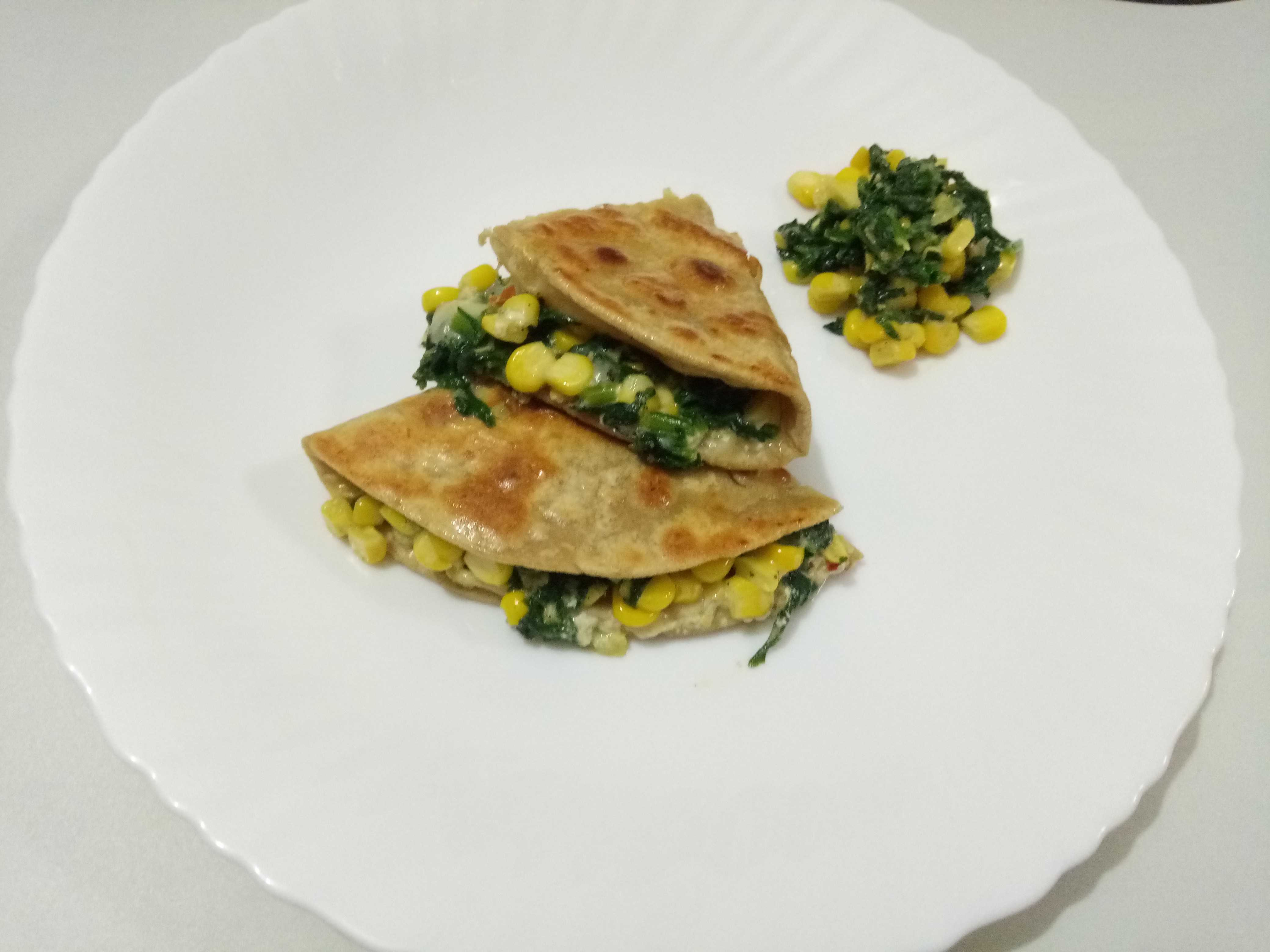 Cheese, corn and spinach Quesadilla (Mexican cuisine)
