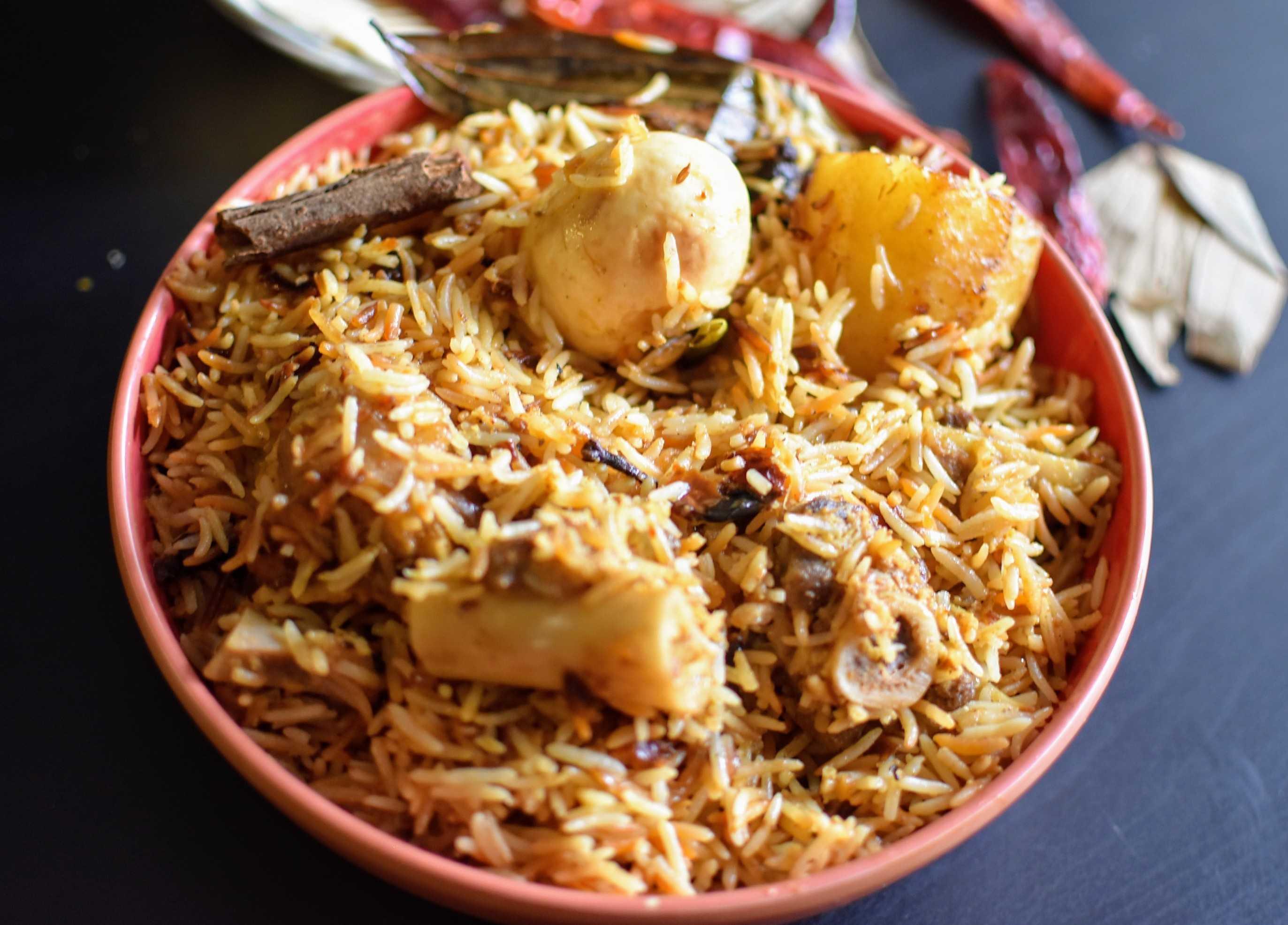 Kolkata Style Goat Meat Biryani
