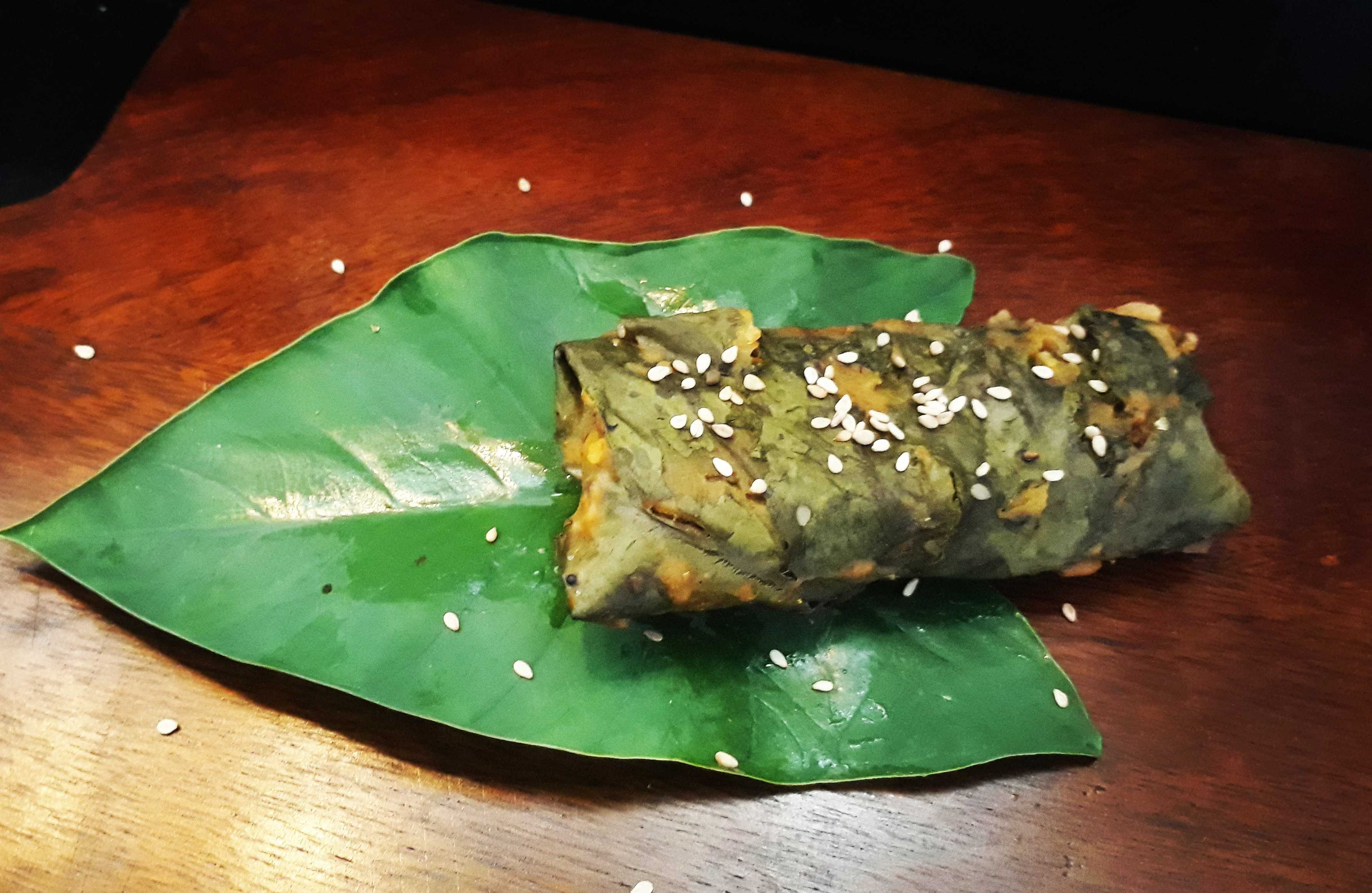 Chicken Stuffed Colocasia Leaves /  Patra Roll