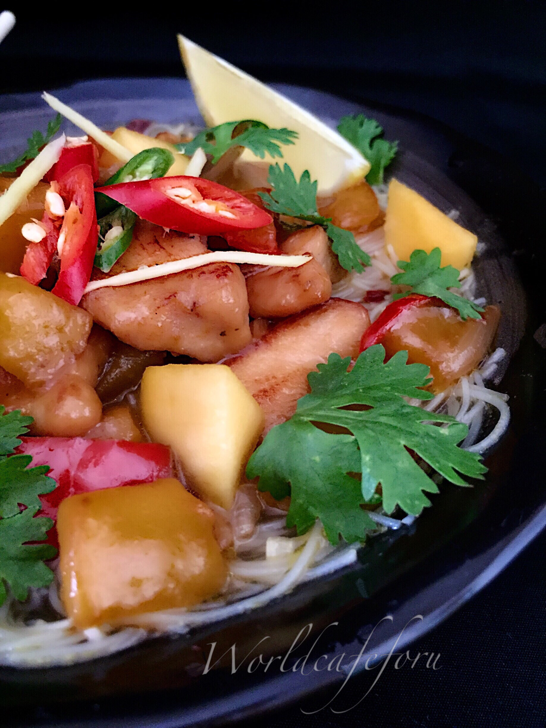 Vietnamese Mango Chicken in Chili Lime Broth served with Rice noodles