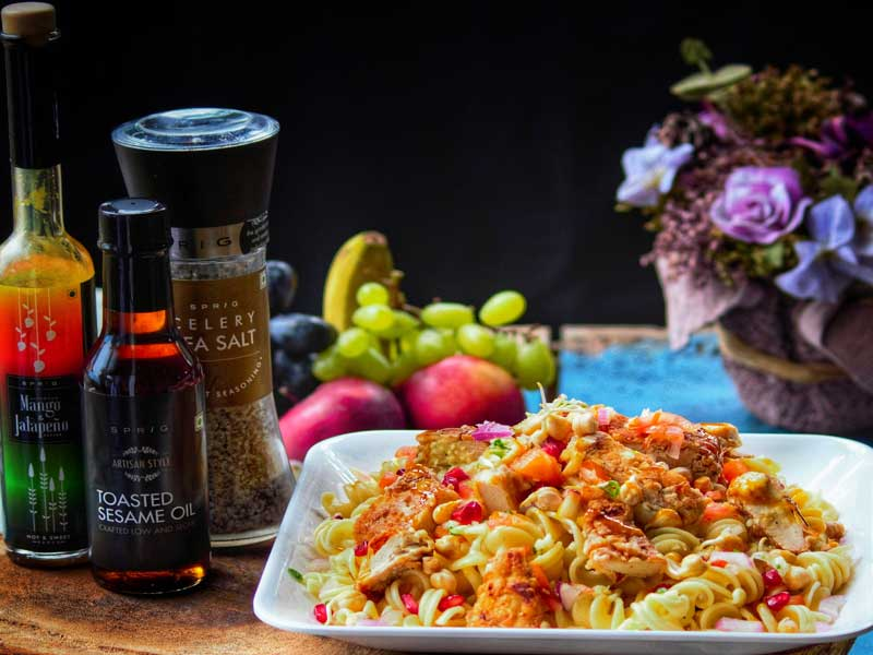 Fusilli Salad with Pan Fried Chicken Breast and Mango Jalapeno Dressing
