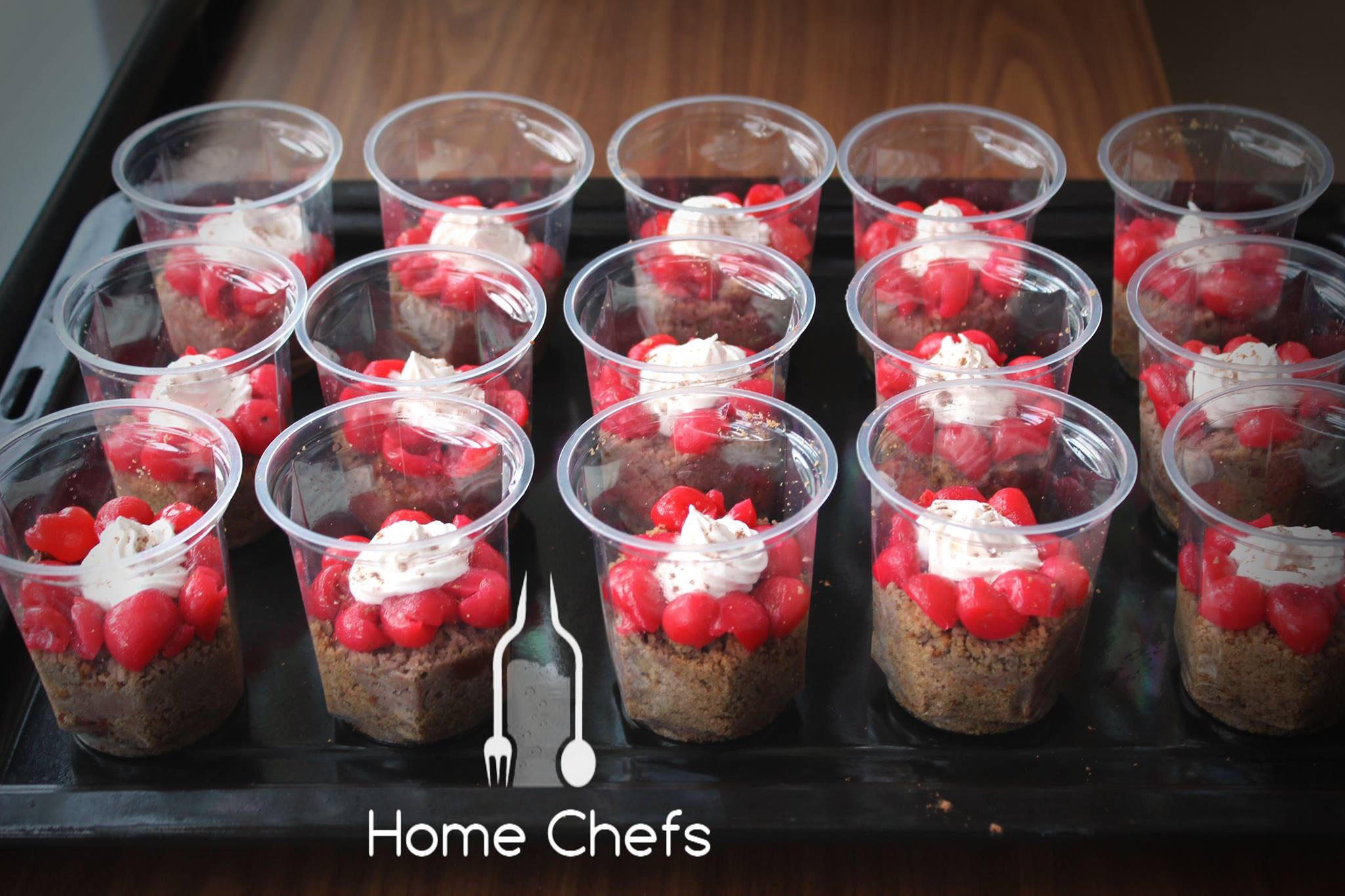 Deconstructed Black Forest cake shots