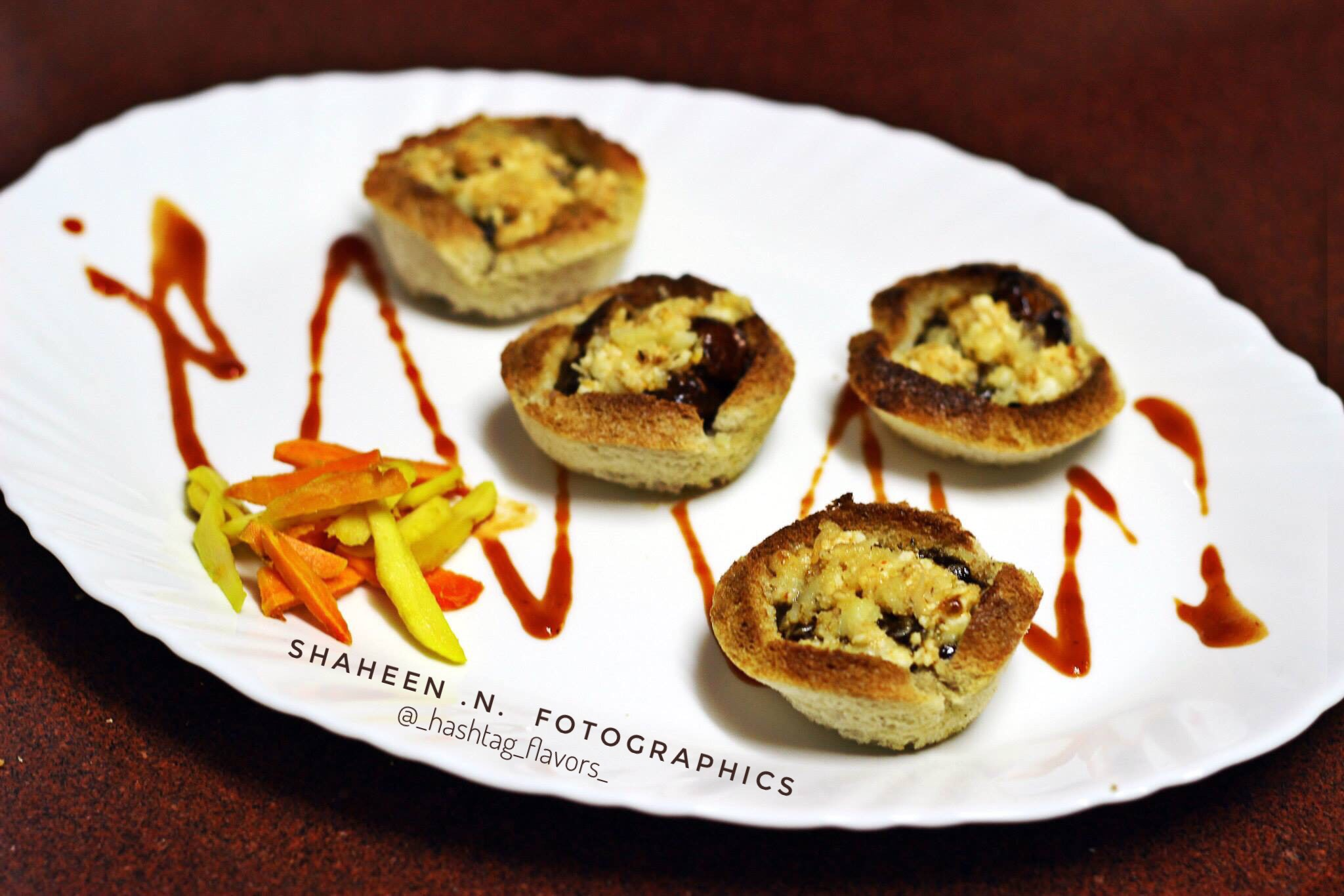 Bbq Paneer in toasted cups