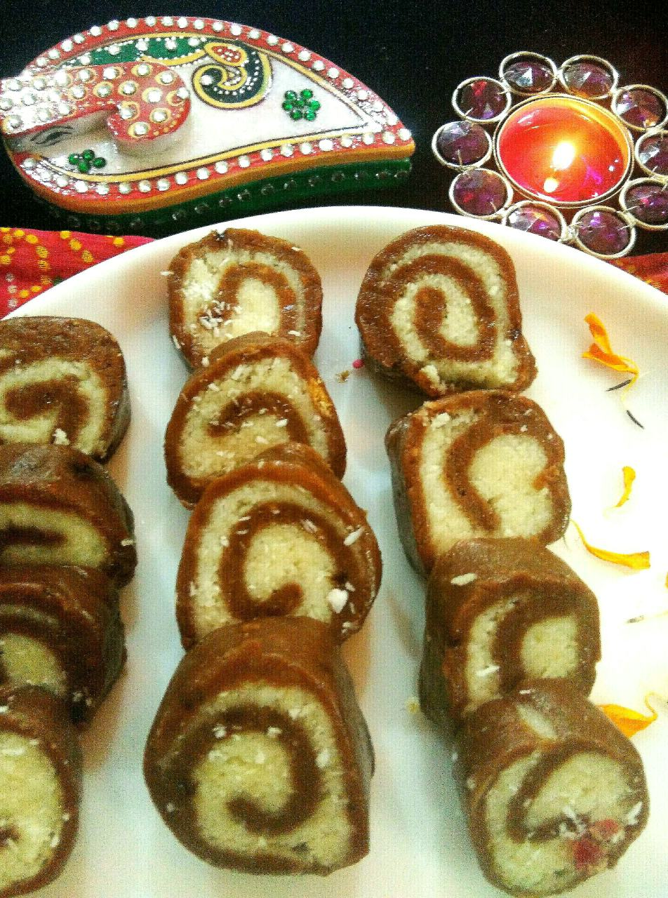 No bake  swiss roll with dry fruits filling
