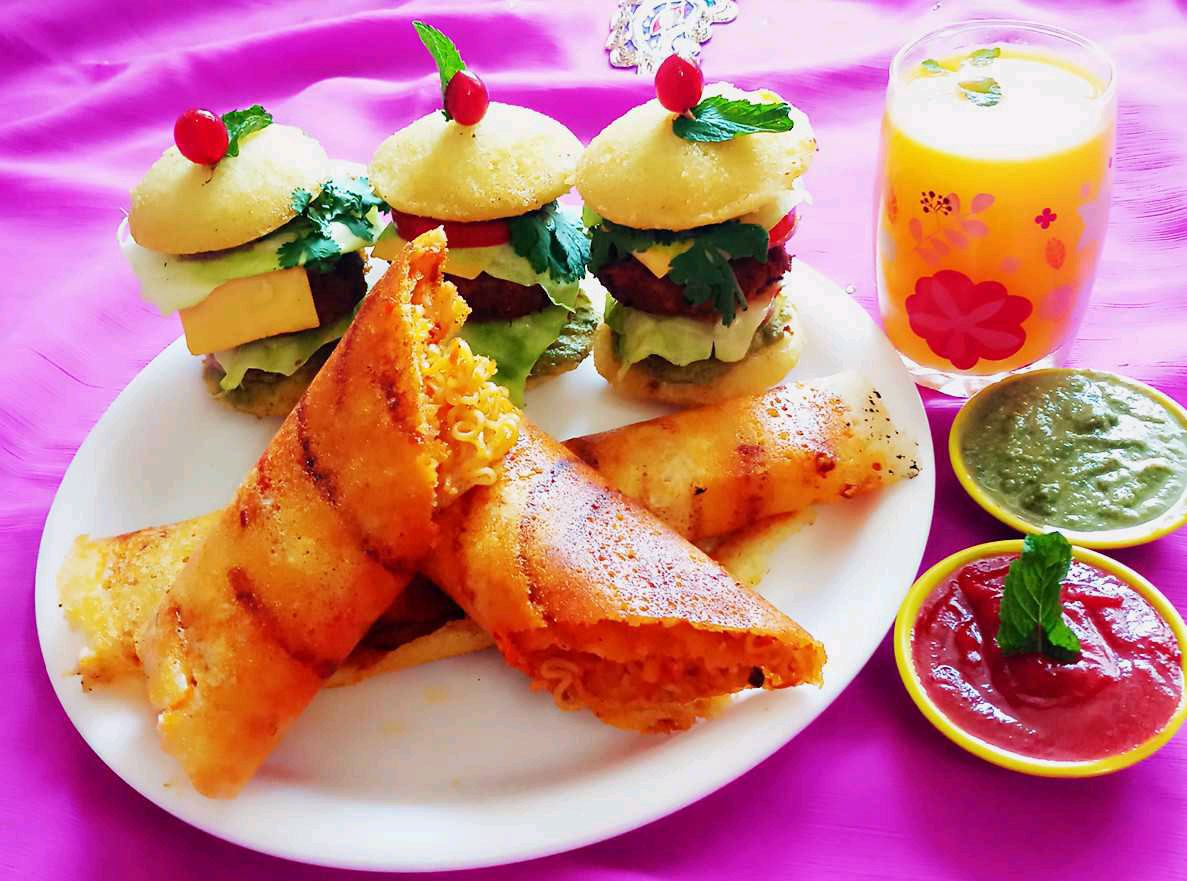Idli Burger And Spring Dosa
