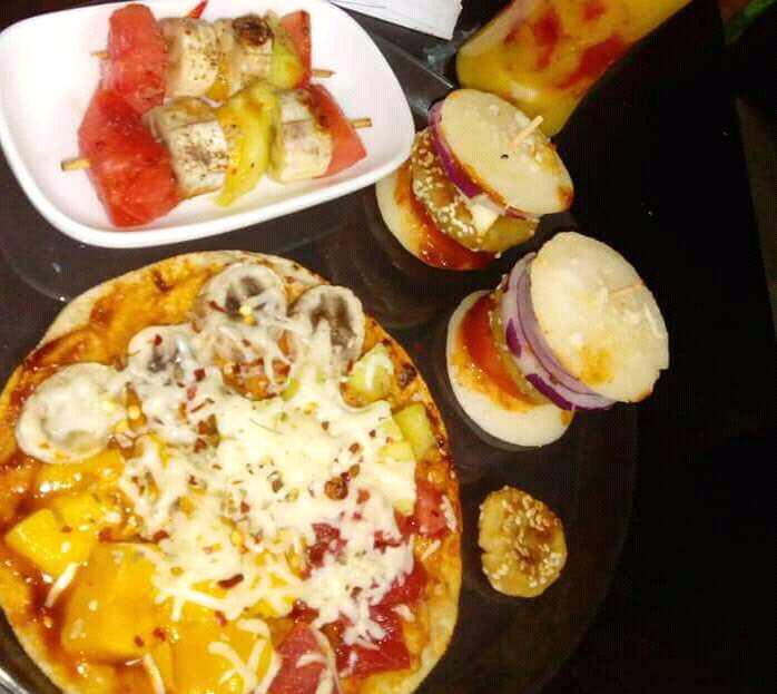 Idli Burger , Mix Fruit Pizza With Tikka