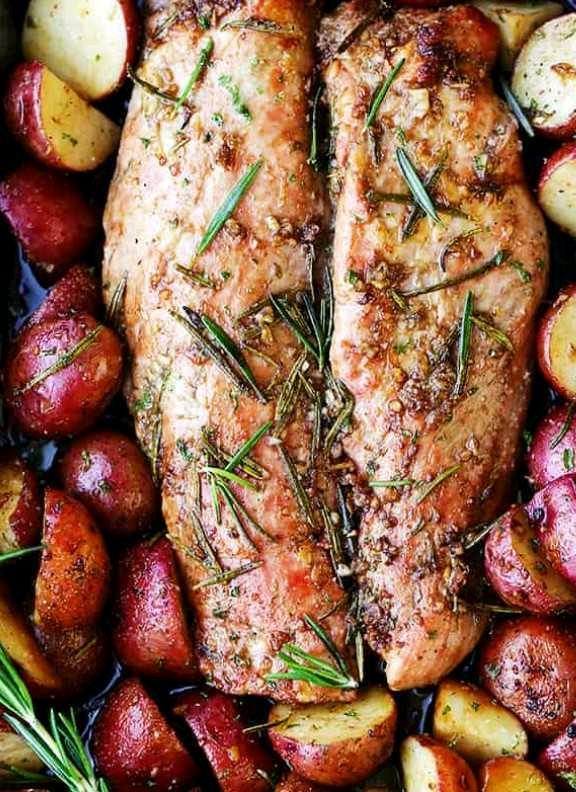 Garlic and Rosemary Balsamic Roasted Pork Loin