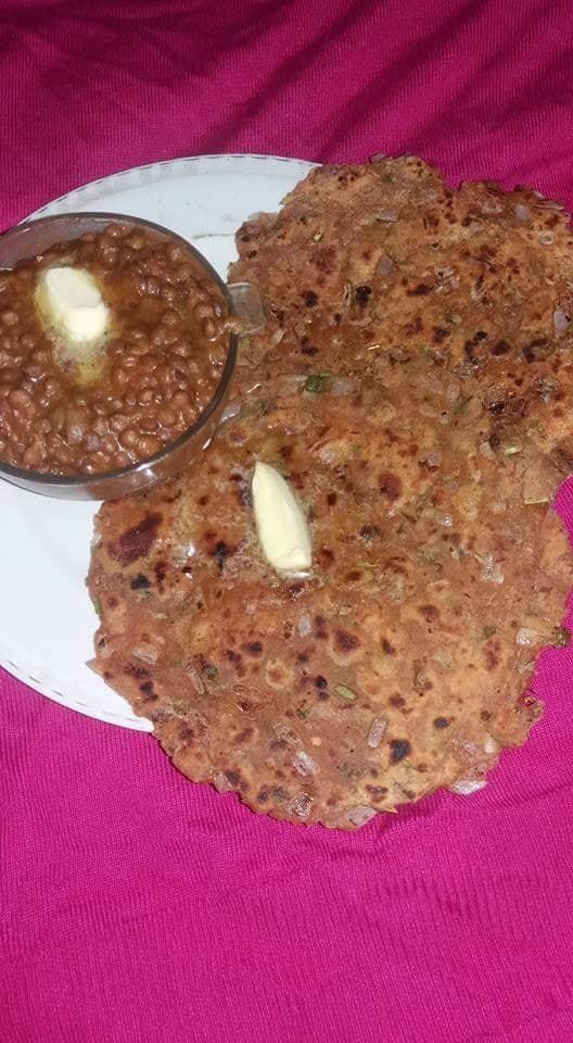 Onion paratha and black masoordal