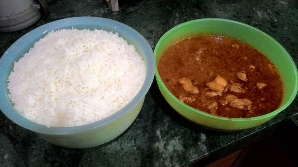 Fish gravy with boiled rice