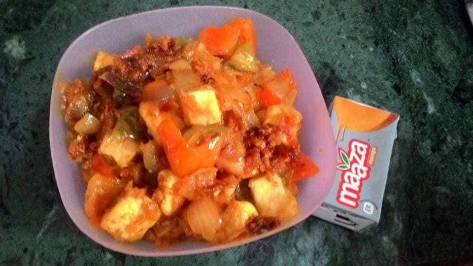 SCHEZWAN BELL PEPPERS WITH PANEER  AND LOTS OF DICED ONION