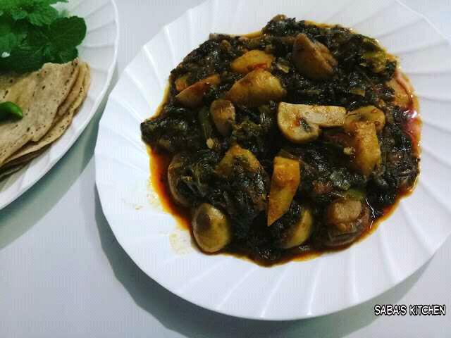 Spinach Capsicim Mushrooms Potato Sabzi