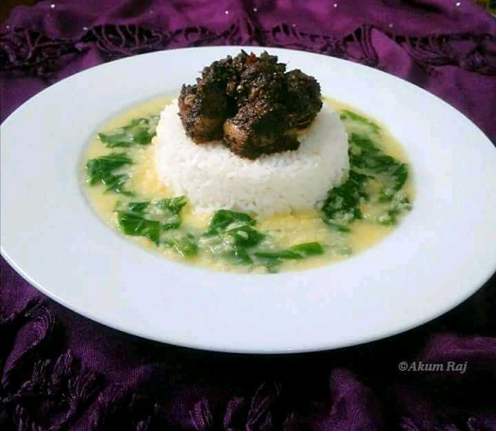 Black Sesame Pork  And Boiled Dal & Greens With Steamed Rice - A Soulful Plate