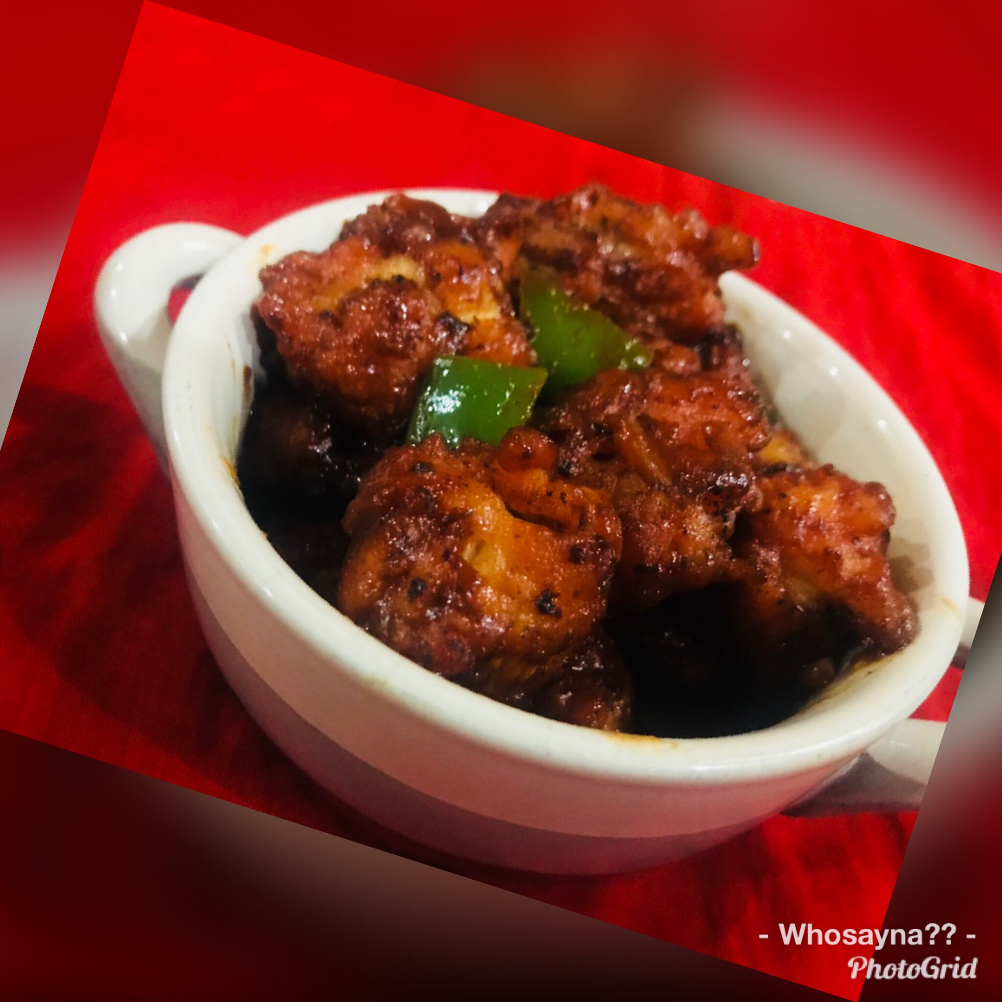 Whosayna's Cripy Chicken topped with Hot n Sweet Sauce