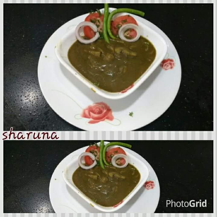 Mushroom palak in green masala