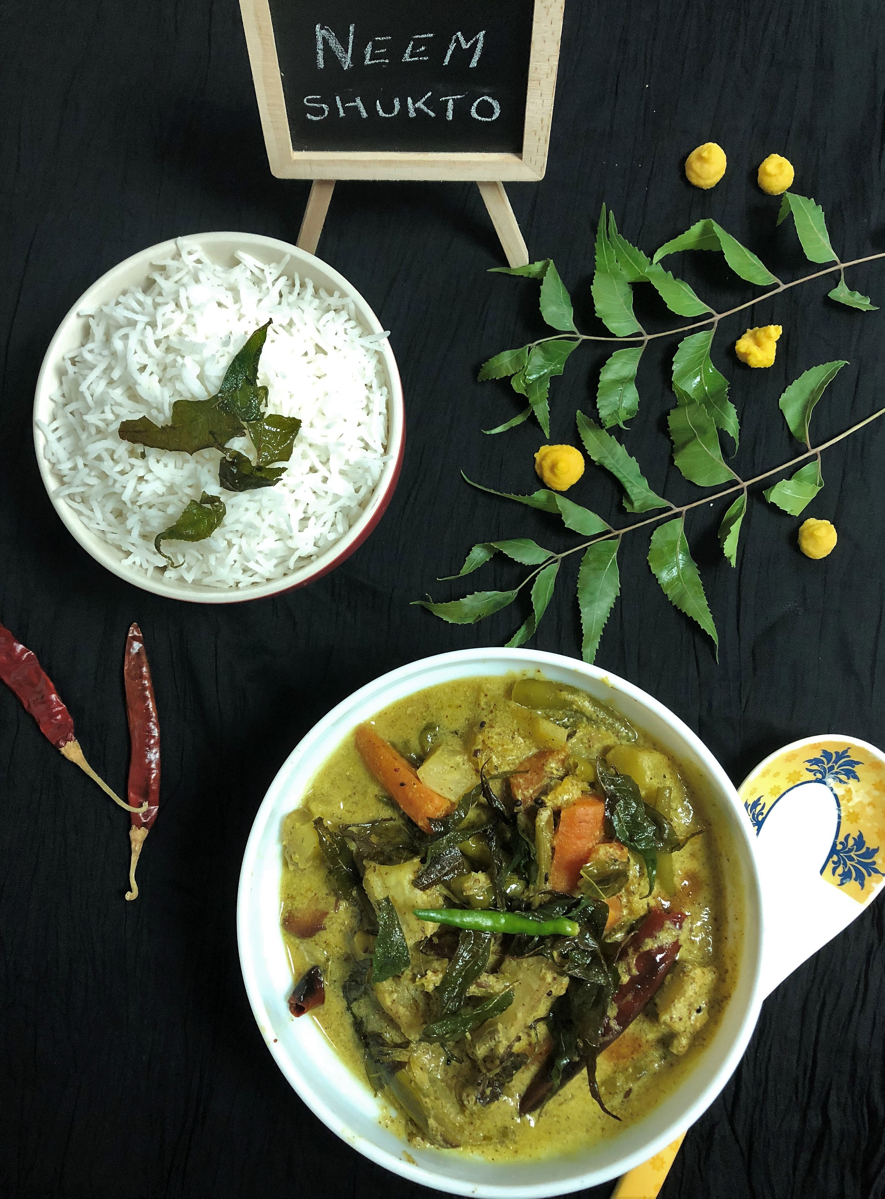 Neem Shukto (Mixed Veg. Curry with Neem Leaves - Bengali Style)