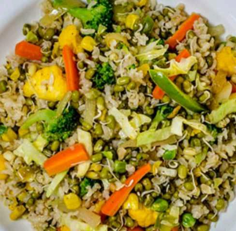 Mix Sprauts Nd Brown Rice Pulaav