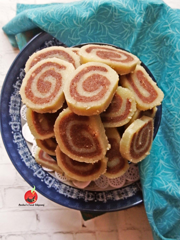 Khoya Badaam Chocolate Pinwheels