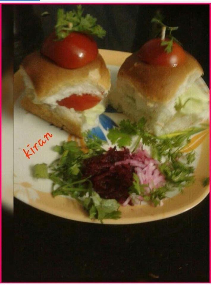 Burger with green moong tikki
